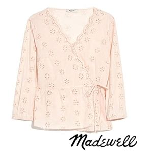 MADEWELL Scalloped Eyelet Lace Wrap Top